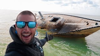 Searching Sunken Abandoned Sailboat In Ocean!!! (Inside Cabin)
