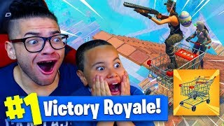 *NEW* SHOPPING CART IS INSANE! FALLING FROM MAX HEIGHT PUSHING MY 9 YEAR OLD BROTHER! FORTNITE BR