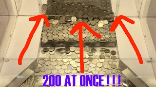 Coin Pusher- 200 QUARTERS AT ONCE!!!! ALARM SOUNDED!!!