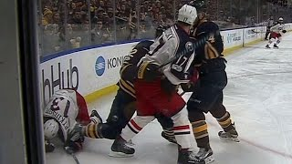 Atkinson gets stomped on by Foligno's skate