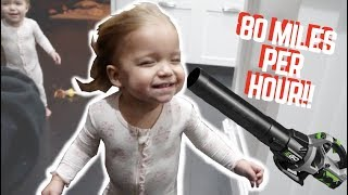 BABIES MEET AN 80 MILES PER HOUR WIND BLOWER!
