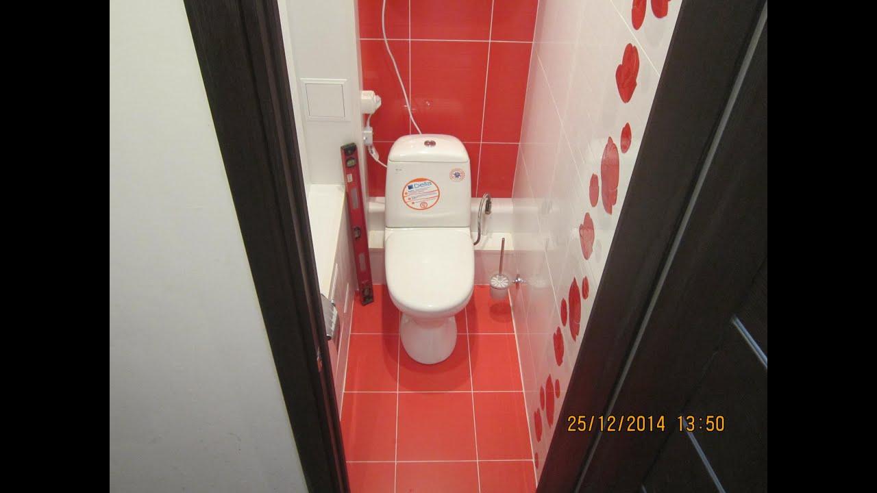 Дизайн туалета плиткой и панелями