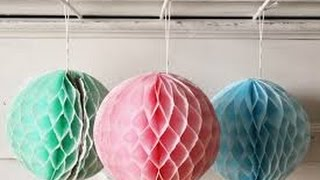 Paper Crafts: How to make a Paper Honeycomb Ball DIY 2017