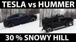 Tesla vs Hummer on steep hill