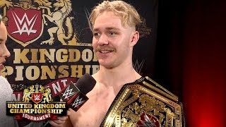 Tyler Bate reacts to being crowned history