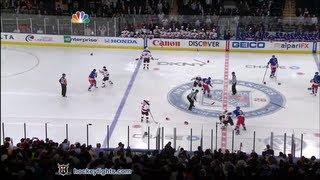 Devils vs Rangers start of game line brawl Mar 19, 2012.