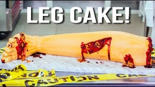 How To Make A HALLOWEEN LEG CAKE! Bloody Buttercream And Vanilla Cake Devoured By FURIOUS PETE!