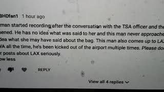 This comment has to be from TSA TSA officer there