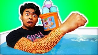 I Spent 24 Hours in 10,000 Bath Bombs Challenge!