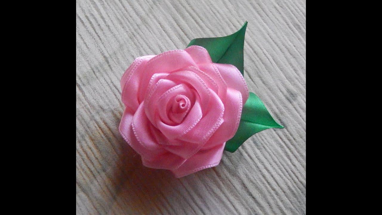 Простые розы из атласных лент своими руками мастер класс