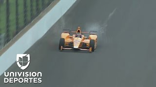 Impresionante impacto de dos aves contra el auto de Fernando Alonso en la Indy 500