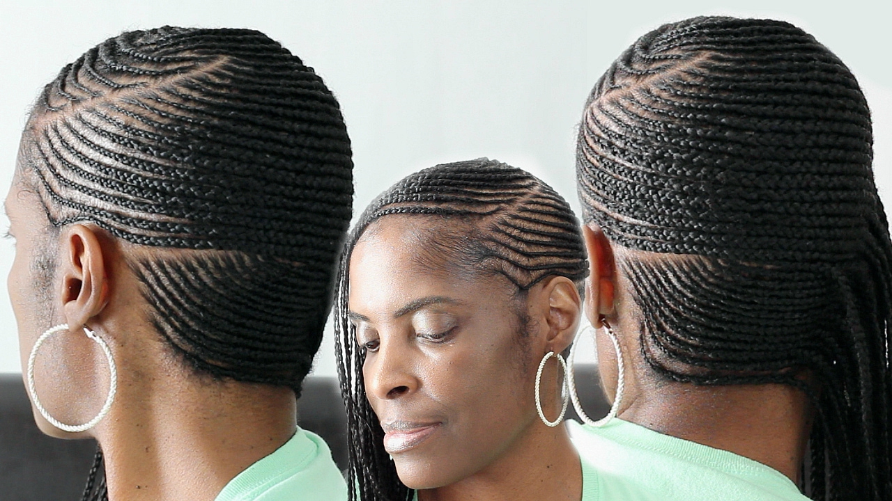 Cornrows braided to the side