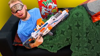 NERF Don't Wake Daddy | Breakfast Surprise Challenge!