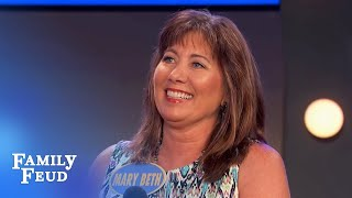 Mary Beth gets GIGGLY | Family Feud