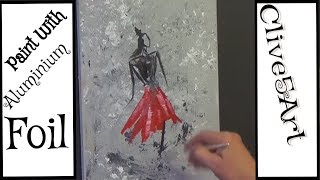 Abstract Painting using Aluminum Foil Acrylic painting for beginners,