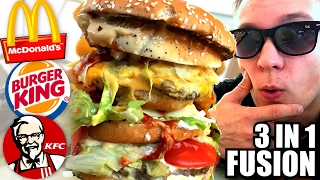 McDonalds Roulette 3 IN 1 MEGA BURGER! (McDonalds BurgerKing KFC Fusion)