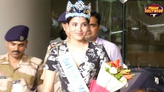 Miss World Stephanie Del Valle Welcomed Amidst Huge Crowd At Mumbai Airport | Bollywood News