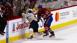 Emelin drops Moulson with questionable hit against the boards