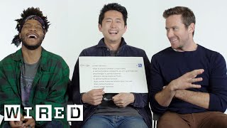Steven Yeun, Armie Hammer & Jermaine Fowler Answer the Web
