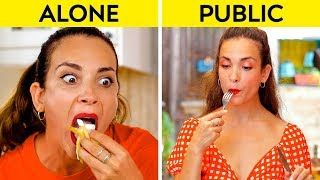 GIRLS IN PUBLIC VS GIRLS ALONE    How You Do Things Alone VS In Public! by 123 GO!