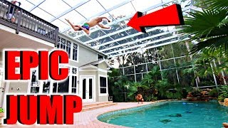 JUMPING Off 20 Foot Balcony INTO Pool!