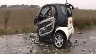 smart car crash. with 70 miles against a concrete wall