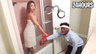 I HANDCUFFED The Hot Fortnite Model for 24 HOURS... *FIRST KISS?*