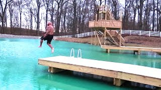 JUMPING INTO ICE WATER!! ouch!!