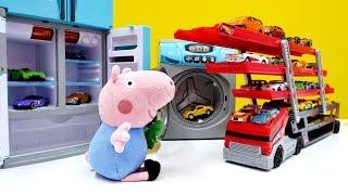Peppa Wutz Video - Tolle Spielzeugautos - Wir helfen Schorsch beim Aufräumen