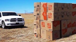 60 MPH Truck vs GIANT Box Fort (Slo-Mo)