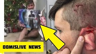 Cat Jumps And Attacks Man Opening PS4 Christmas Present on Video (Christmas Fails)