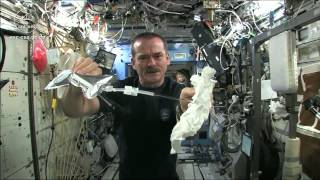 Wet Washcloth In Space - What Happens When You Wring It?   Video