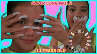 "11 YEAR OLD GETS SUPER LONG ACRYLIC NAILS FOR THE FIRST TIME "" SISTER FOREVER"""