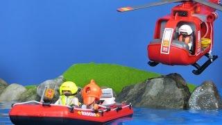 PLAYMOBIL deutsch: Playmobil Feuerwehrmann Boot & Hubschrauber | Playmobil Feuerwehr Kinderfilm