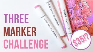 THREE MARKER CHALLENGE ft. Super Affordable TOUCHNEW Markers! | Cheap Beginner Markers!