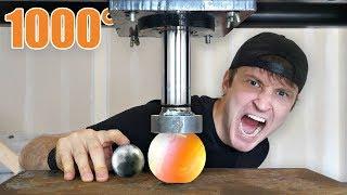 1000 DEGREE METAL BALL vs HYDRAULIC PRESS!! You Won