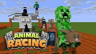Monster School: ANIMAL RACING CHALLENGE - Minecraft Animation