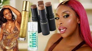 Fenty BODY LAVA?! Milk HydroGrip Primer...? Trying New Makeup! | Jackie Aina