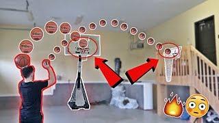 IMPOSSIBLE INDOOR MINI BASKETBALL TRICK SHOT CHALLENGE!!