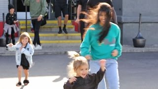 Reign Disick Runs Away From Kourtney Kardashian And Scott Disick To Photographers At Bowling Alley