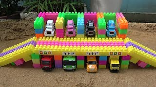 Building Parking Garage Mack Truck Cars Toys with Learn Colors Toy for Kids
