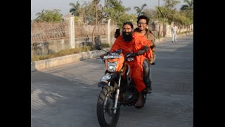 Baba Ramdev riding a motorcycle! First time ever! Super Epic!