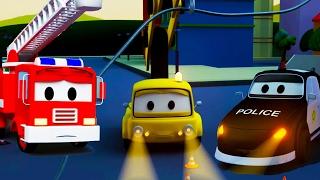 Der Streifenwagen mit dem Polizeiauto und dem Feuerwehrauto und Der Stromausfall in Autopolis 🚗💨
