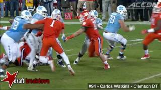 Carlos Watkins (Clemson DT) vs North Carolina 2015