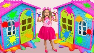 Sasha Paints and Decorates Playhouses & play in coloring Challenge with toys