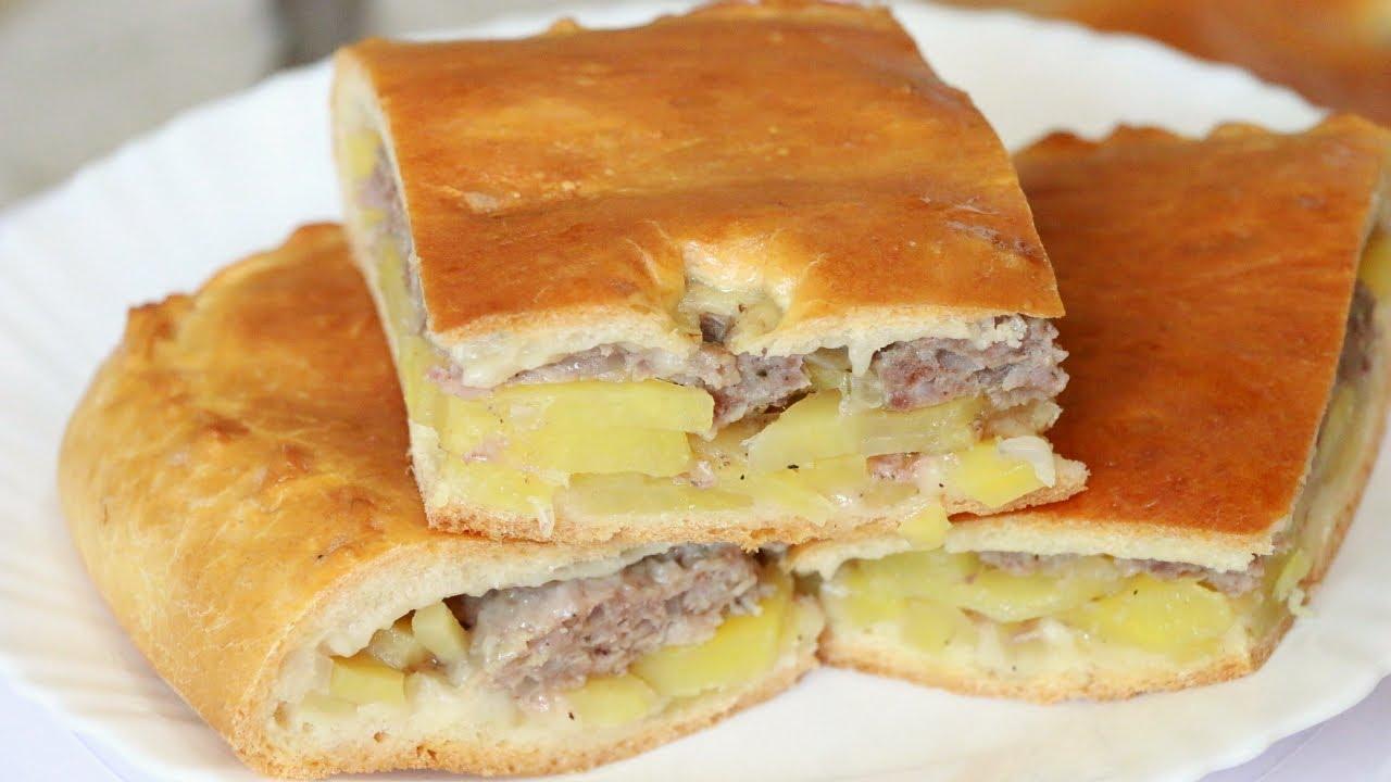 Пирог с сырым мясом в духовке пошаговый
