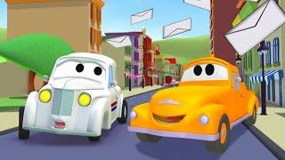 Der Streifenwagen: Peter das Postauto in Autopolis | Autos und Lastwagen Bau-Cartoon-Serie Kinder