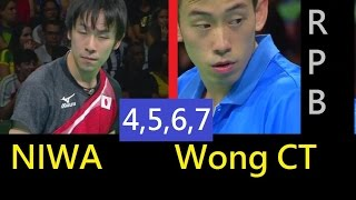 [TT sngl] Game4567 Big Upset, NIWA koki, WONG ChunTing(penhold) (edit)