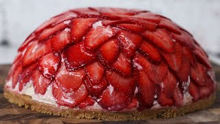 No-Bake Strawberry Cheesecake Dome