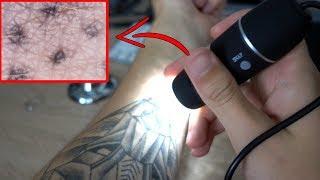 Tattoo unter 800facher Vergrößerung anschauen - 20€ USB Mikroskop im Test!